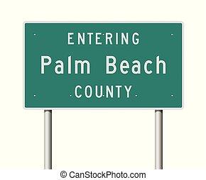 señal, camino, palma, condado, entrar, playa