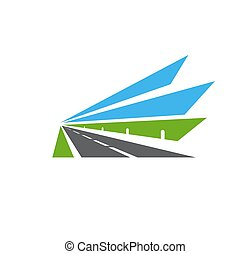 señal, camino, vector, camino, carretera, icono, aislado