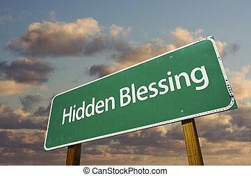 señal, camino, verde, bendición, escondido