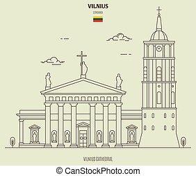 señal, catedral, lithuania., icono, vilnius