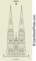 señal, catedral, sweden., icono, uppsala