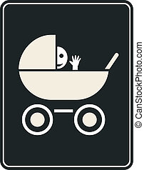 señal, cochecito de niño, vector, -, icono
