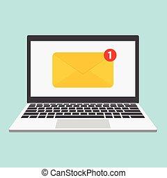 señal, computador portatil, sobre, plano, correo, vector, icono, mensaje