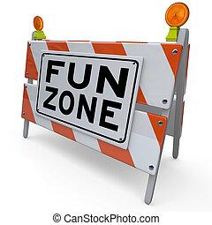 señal, construcción, diversión, zona campo juegos, barricada, niños