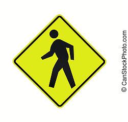 señal, crosswalk, camino, fluorescente, -