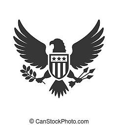 Señal de águila nacional estadounidense sobre fondo blanco. Vector