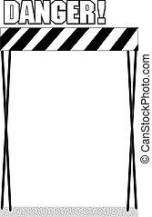 Señal de área de peligro en un fondo blanco, ilustración vectorial
