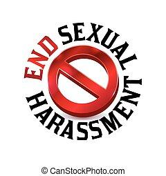 Señal de advertencia de acoso sexual símbolo de ilustración