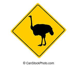 Señal de advertencia de avestruz
