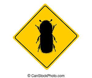 Señal de advertencia de escarabajo