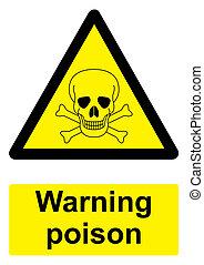 Señal de advertencia negra y amarilla aislada en un fondo blanco, veneno