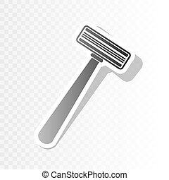Señal de afeitar de seguridad. Vector. Nuevo año negro icono sobre fondo transparente con transición.