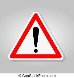Señal de alerta aislante de fondo blanco, ilustración de vectores