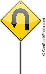 Señal de alerta amarilla de giro U