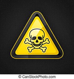 Señal de alerta de triángulo peligroso en una superficie metálica