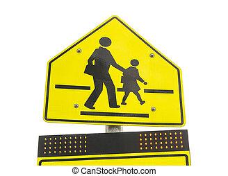 Señal de alerta de zona escolar aislada en antecedentes blancos
