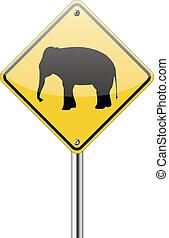 Señal de aviso de elefante