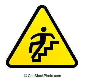 Señal de aviso para escaleras resbaladizas cuando se moje