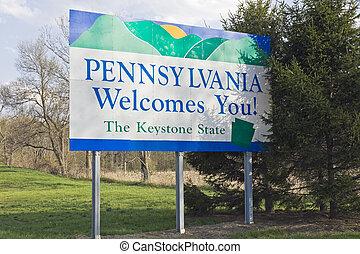 Señal de bienvenida de Pennsylvania