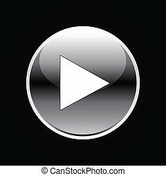 Señal de botón blanco en negro