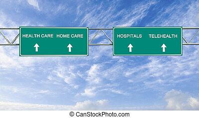 Señal de camino a la atención médica