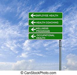 Señal de camino a la salud de los empleados