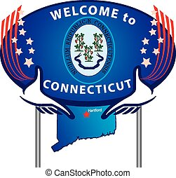 Señal de camino bienvenida a Connecticut