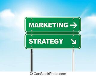Señal de carretera 3D con marketing y estrategia