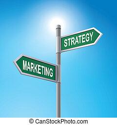 Señal de carretera 3D diciendo marketing y estrategia