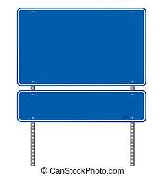 Señal de carretera azul en blanco
