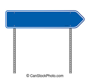 Señal de carretera direccional azul