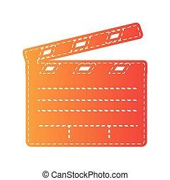 Señal de cine. Un aparato naranja aislado.