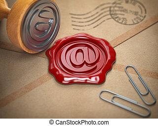 Señal de correo sellando sello de cera. El concepto de comunicación por Internet.