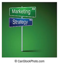 Señal de dirección de marketing.