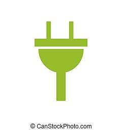 Señal de electricidad de icono. icono verde