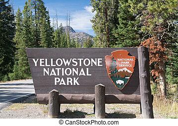 Señal de entrada de Yellowstone National Park