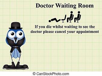 Señal de espera del médico cómico