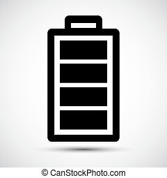 Señal de icono de batería aislada en antecedentes blancos, ilustración de vectores