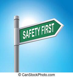 Señal de la carretera 3D diciendo seguridad primero