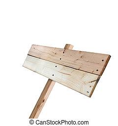 Señal de madera aislada en un fondo blanco