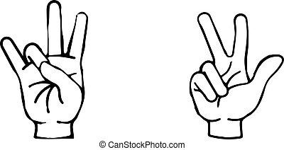 señal de mano, aislado, icono, fondo blanco