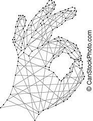 Señal de OK en el fondo blanco de líneas negras poligonales y puntos. Ilustración de vectores.
