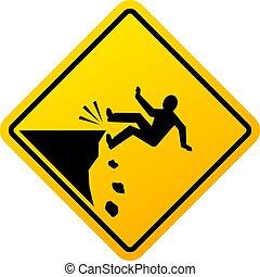 Señal de peligro de caída de Cliff