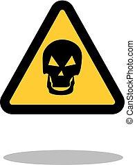 Señal de peligro. Señal de cráneo en una ilustración de Vector de fondo blanco.