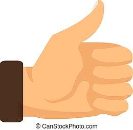 Señal de pulgar arriba en un fondo blanco. Ilustración de vectores