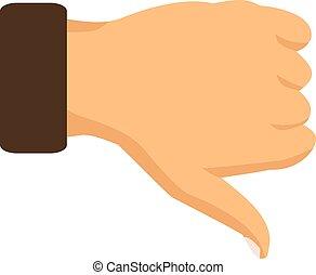 Señal de pulgar hacia abajo en un fondo blanco. Ilustración de vectores
