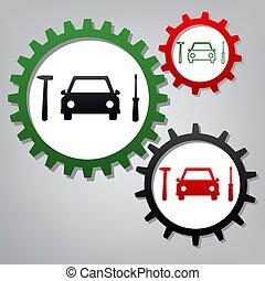 Señal de reparación de neumáticos. Vector. Tres engranajes conectados