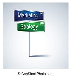 Señal de ruta de la estrategia de mercado.