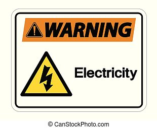Señal de símbolo de electricidad en el fondo blanco