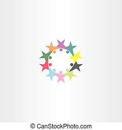Señal de símbolo de icono de la gente del círculo vectorial